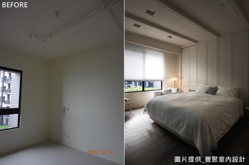 臥房採用斜屋頂,延伸空間視覺高度,透過簡單色彩與木材質傳遞北歐風格。