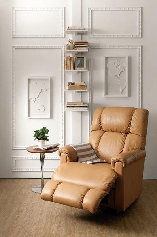 La-Z-Boy 休閒椅 : 美式咖啡色彩,三段式的腳托設計,讓身體在完全仰躺的同時,體驗宛如置身床墊上的優雅舒適感。更具備前後搖晃功能,讓使用者得以藉此得到最放鬆的心靈安適。