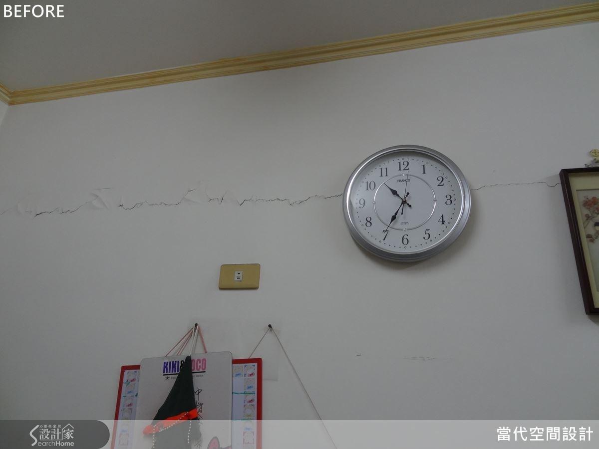 屋案因老舊加上地震影響,牆面上出現一條條明顯的龜裂,亟待改善。