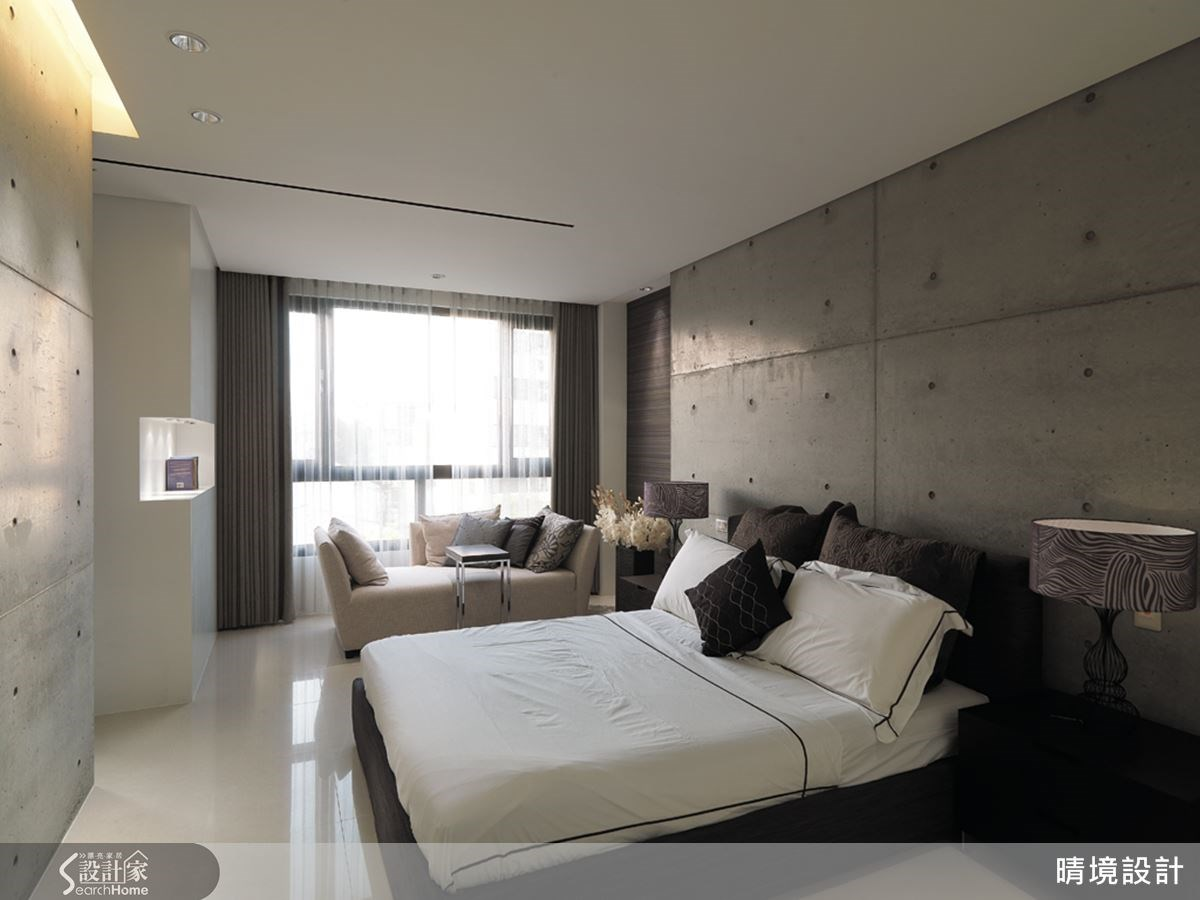 另一間臥室則以清水模為主要材質,呼應屋主對於安藤忠雄作品的喜好,並展現年輕時尚氣息。