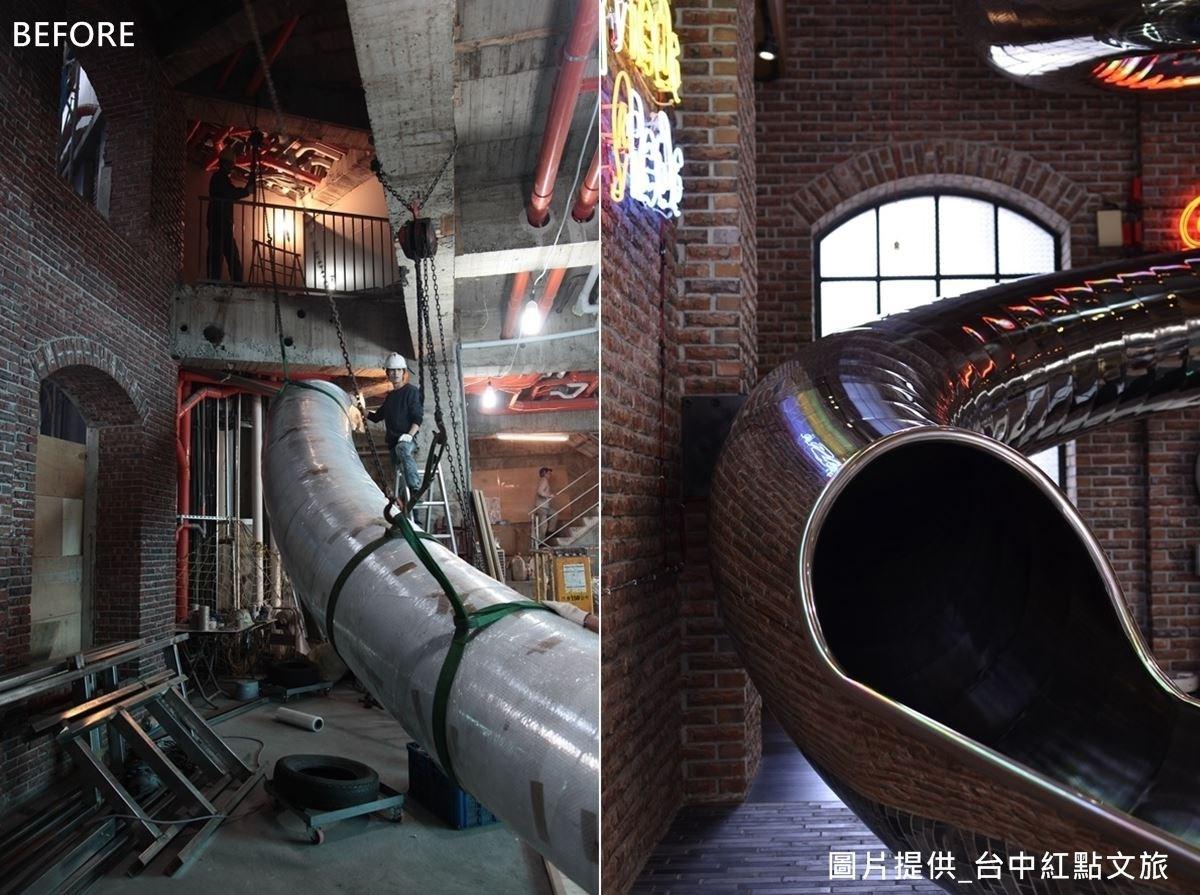 一體成形的溜滑梯,採用隱藏支架設計,營造懸浮於空中的美感。