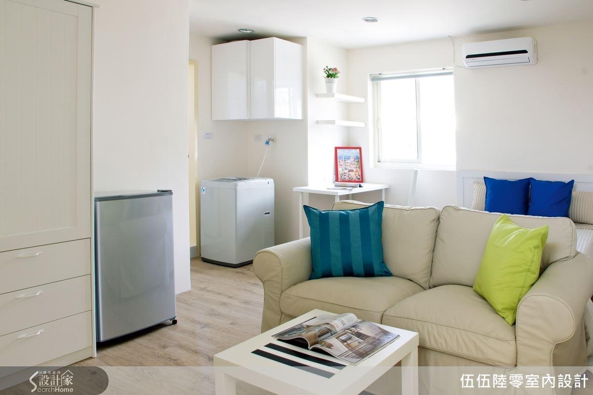 6 坪的空間,以白色木質調為主軸,放大視覺寬闊感,運用大量的自然感建材,搭配清新色調的傢具與織品,為空間創造療癒的柔和氣息。