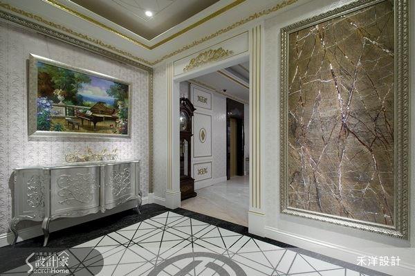 由於空間是以白色為視覺主色,地面就以黑白幾何拼合來強化視覺感,展現出空間設計的細膩層次。