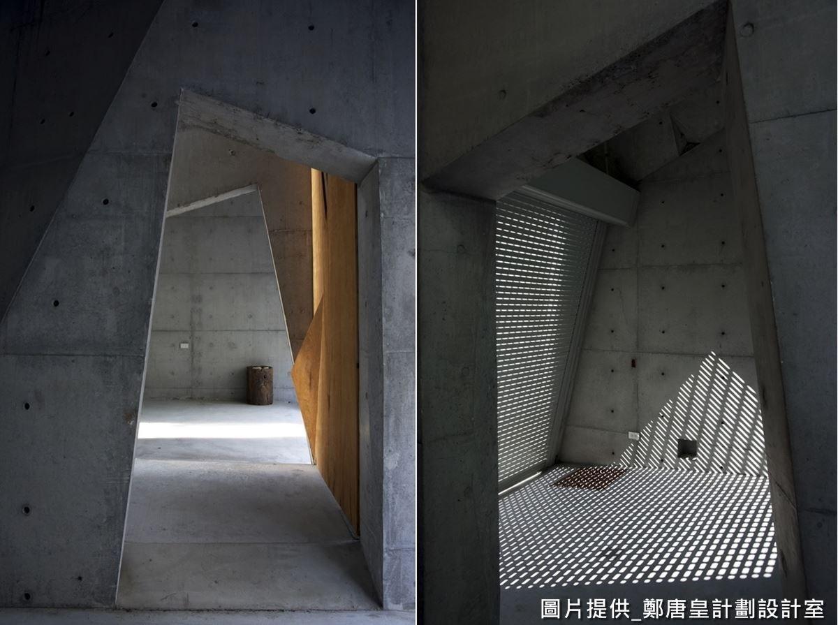 從梢楠木大門走入,可見到純粹的清水模建材,刻意以斜線、直線等線條做出幾何與折角的變化,營造空間曲折感,符合當代數位折板的概念。