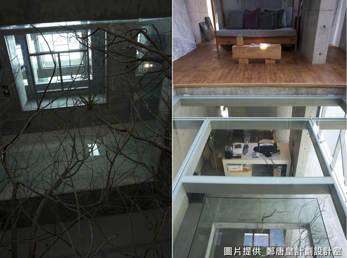 建築物的高樓層有著天井設計,可從上往下看見貫穿建築物的大樹,並賞覽底部景色。