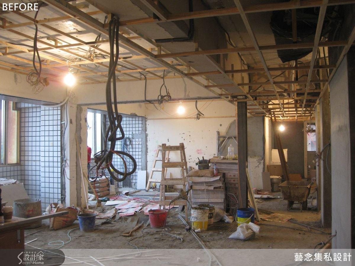 圖為規劃前的客餐廳,從天花板的管線結構到地面的建材裝修皆需要精細的工程。