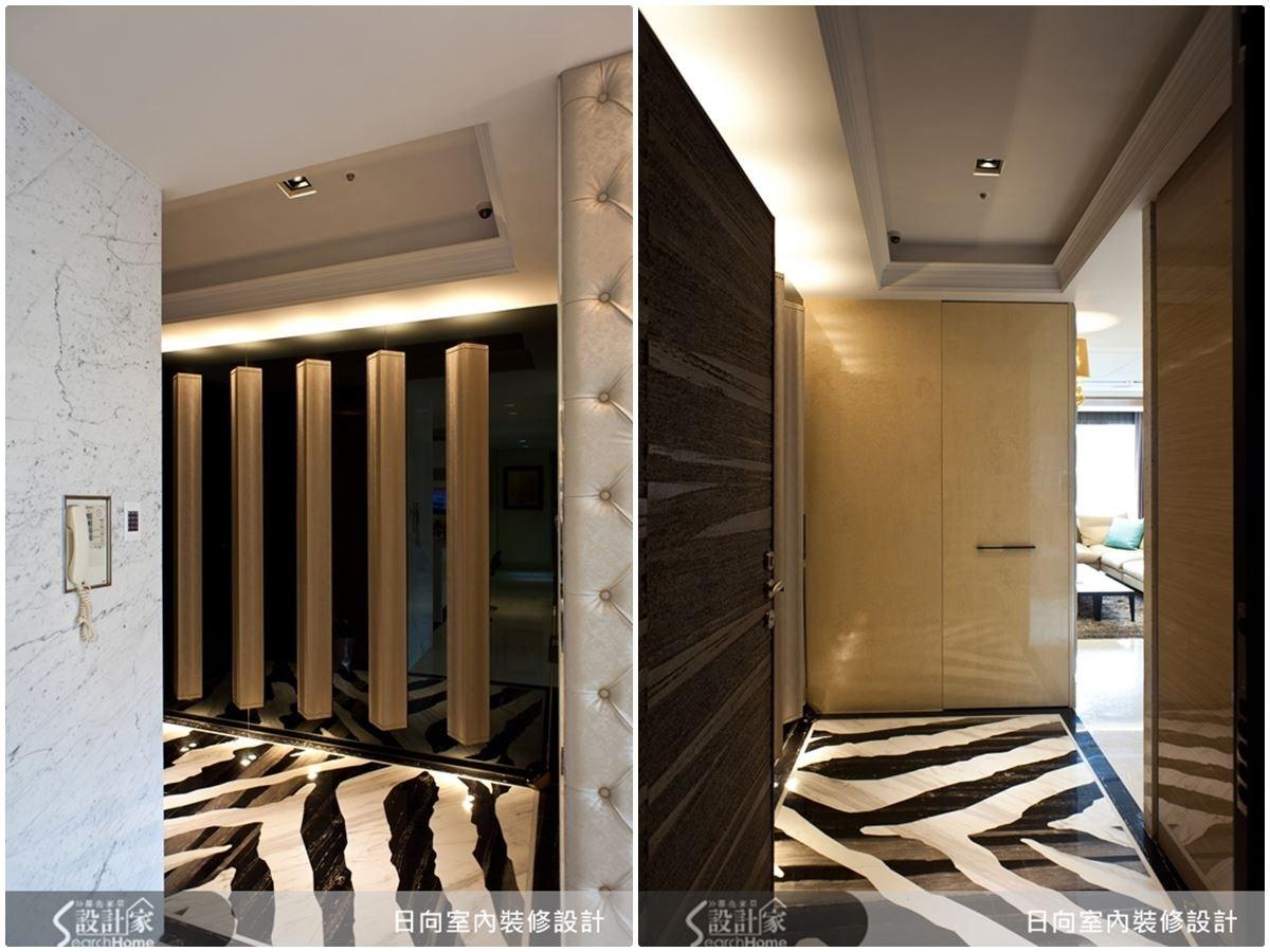 黑白交錯的石材地面,像是斑馬紋的奢華質感,讓人一進玄關就能感受與時尚接軌的巧思。
