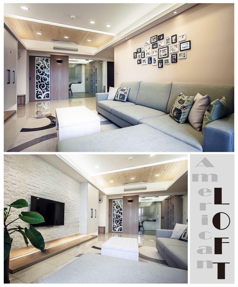 (上圖)沙發背牆面以黑白兩色且大小不一的相框佈置,配合布沙發與暖色系地毯的表現,讓美式風格與 LOFT 的空間感完美結合。至於(下圖)的磚牆面直接塗上白漆,營造現代感的同時帶有幾分對比的空間味道,天花板以木材紋理的線板呈現,讓空間層次感更加提升。