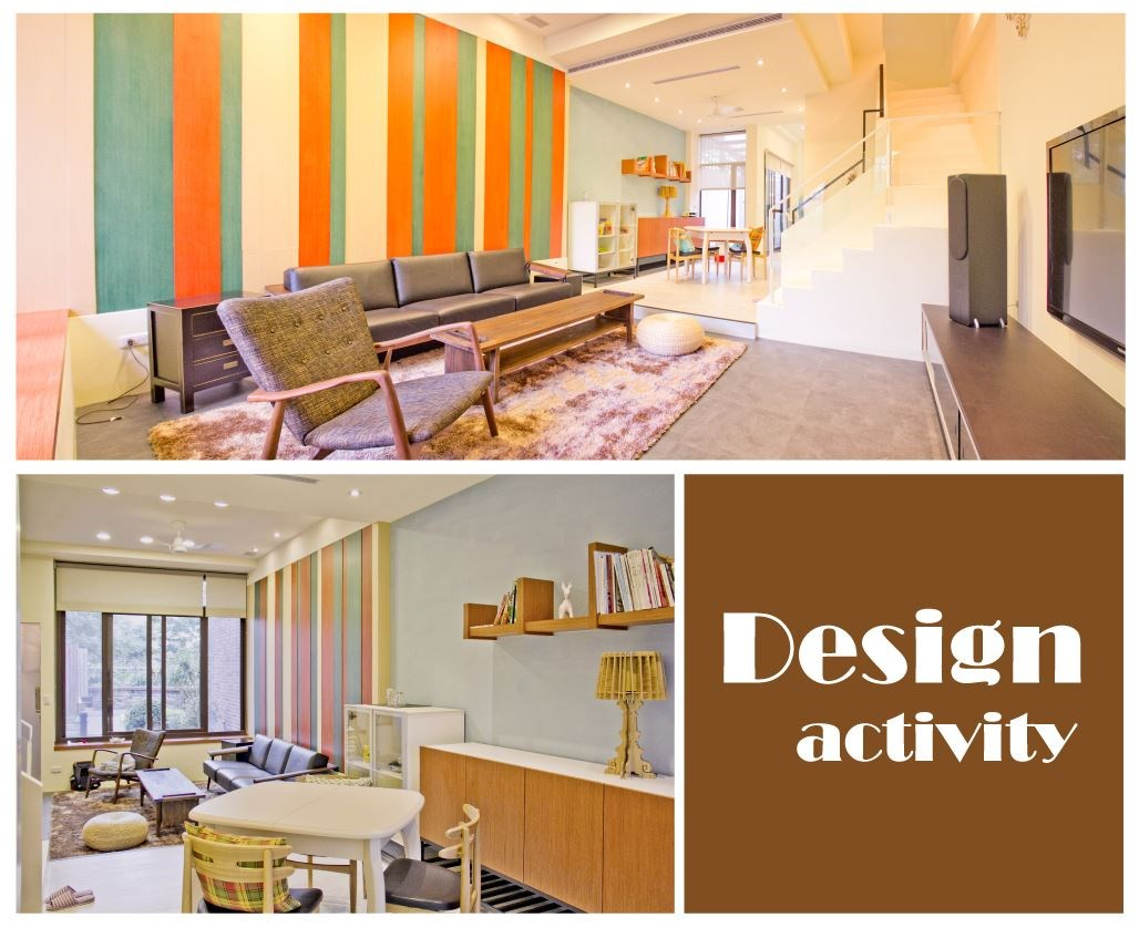 沙發背後的木作牆以 3 種顏色呈現,交錯出有層次卻不突兀的色調,引領了整體空間的視覺亮點,而牆面所保留木紋紋理,更展現空間與自然的融合(上圖)。