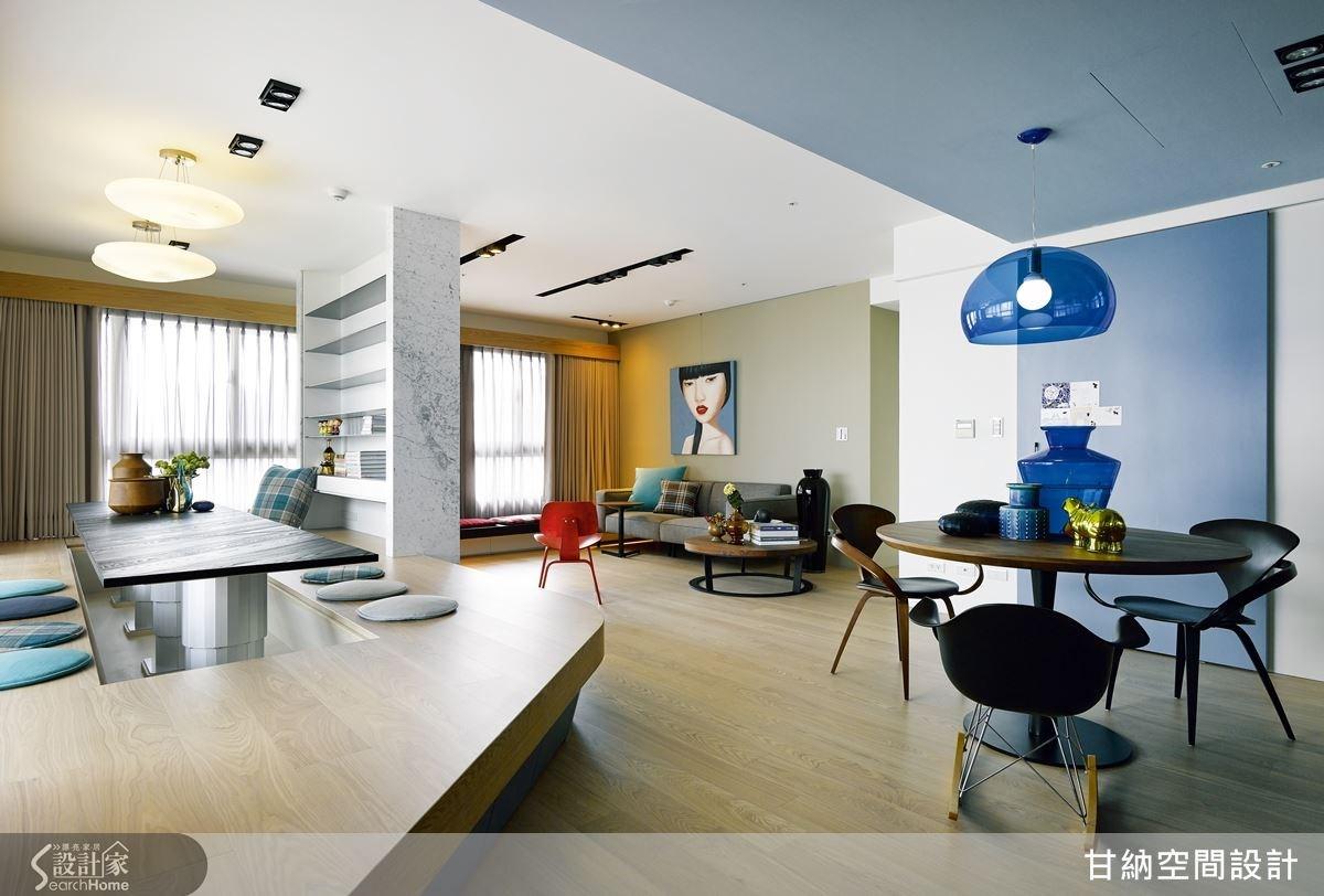 為增進家人互動頻率,甘納拆除鄰近客廳的一房,以弧形動線創造開放式書房,讓公共空間自由寬廣。