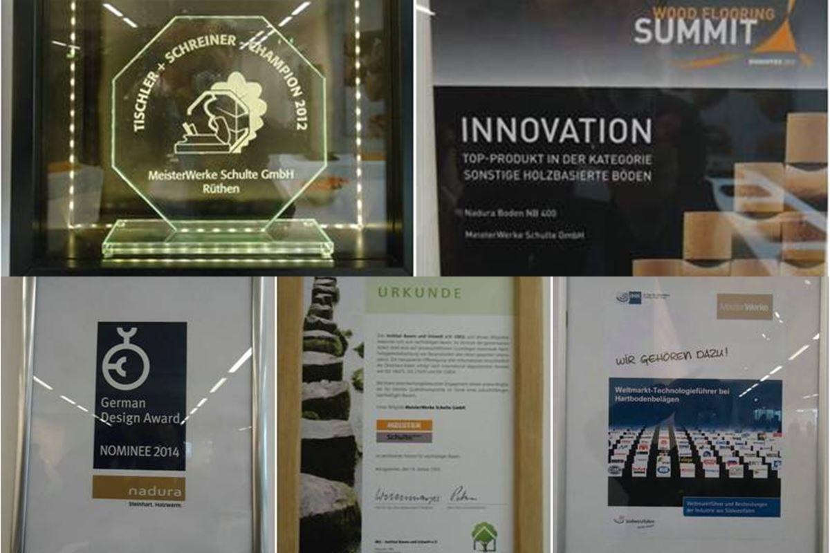 左上1: 榮獲木匠冠軍產品;2: 榮獲德國最佳木業建材企業獎;左下3: 2014德國最佳設計產品;4: 綠色樹屋環保優秀認証;5: 榮獲德國 IHK 聯盟 - MEISTER 實木技術全球市場領導者大獎