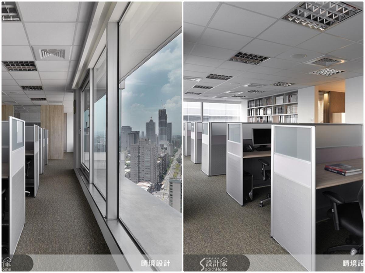 個人專屬的獨立工作空間,流暢的行走動線,充分展現出工作場域的專業屬性。一旁的落地窗,還能盡覽城市風華,為忙碌的工作生活,增添了些許的愜意。