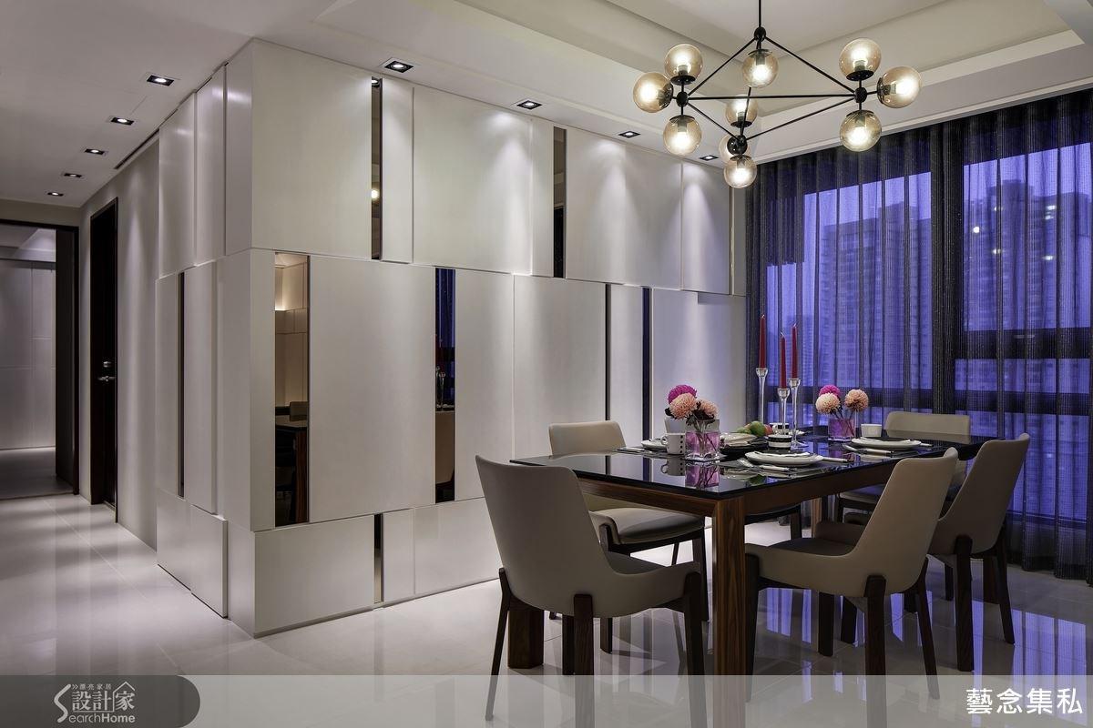 夜晚的餐廳則有不同的感覺,帶著紫色亮片的紗窗將光線引入室內,這是屬於都會的時尚感。