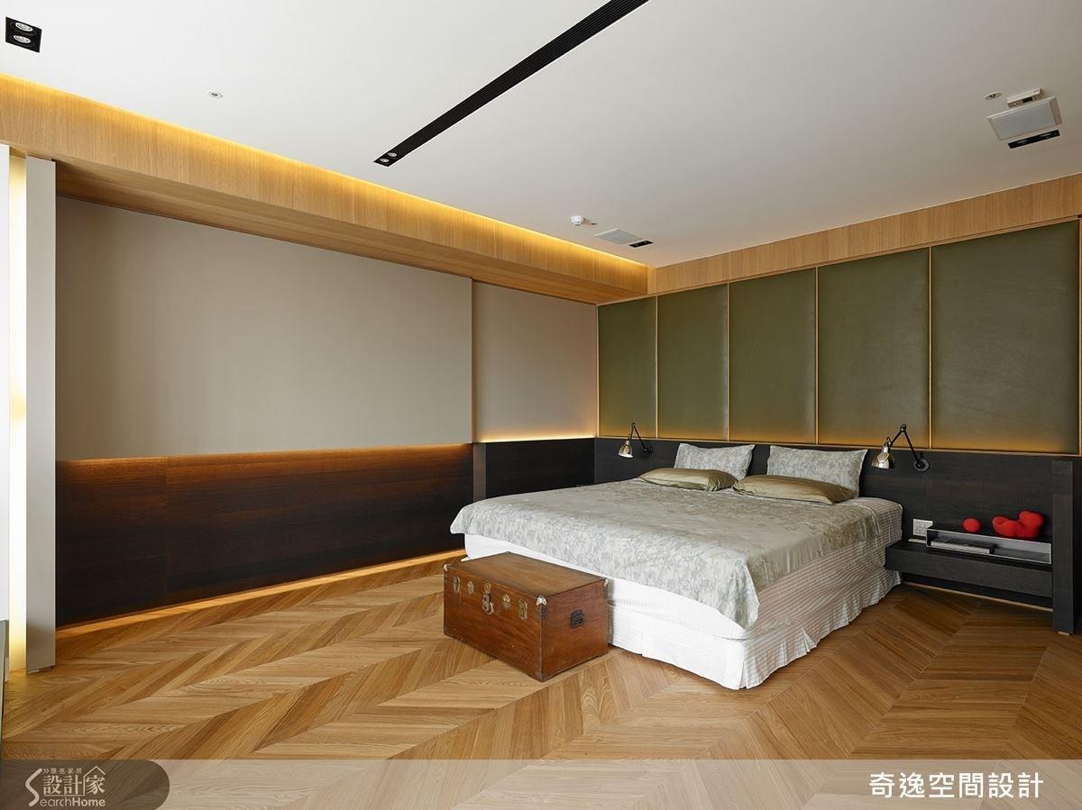 兒子房床頭採用常被用於高檔汽車座椅面料的 Nappa 等級皮革,充滿質感。