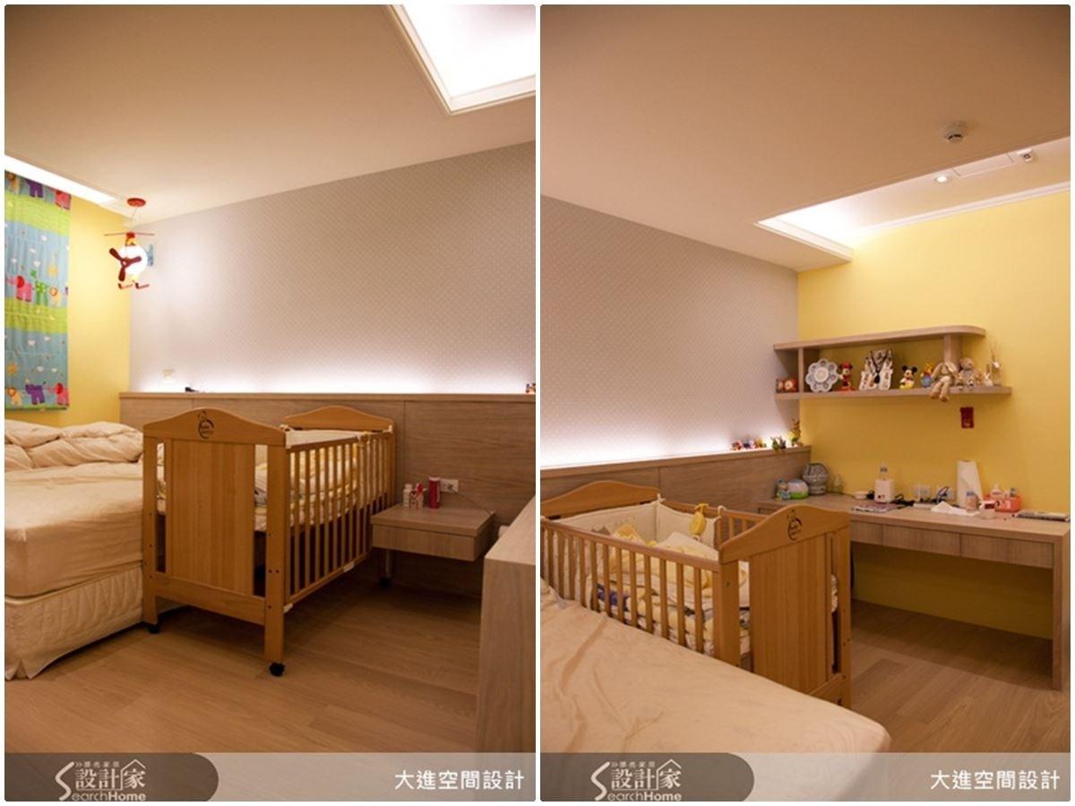 寶寶房選用溫暖如月光的黃色壁面,配上童趣氣息的風格壁紙,床頭更有長型的展示區,可以放上寶寶的成長照,讓空間使用更精巧。