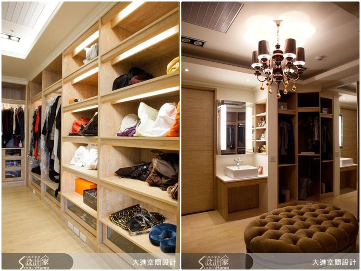 依據服飾或配件主題,設計出合適的收納空間,再利用燈光視覺效果,讓更衣室就像高級時尚 VIP Room ,此外還設置有貼心的洗手檯面,方便洗去手上的彩妝用品。如此貼心的設計,簡直是女孩們夢想的絕美更衣室空間。