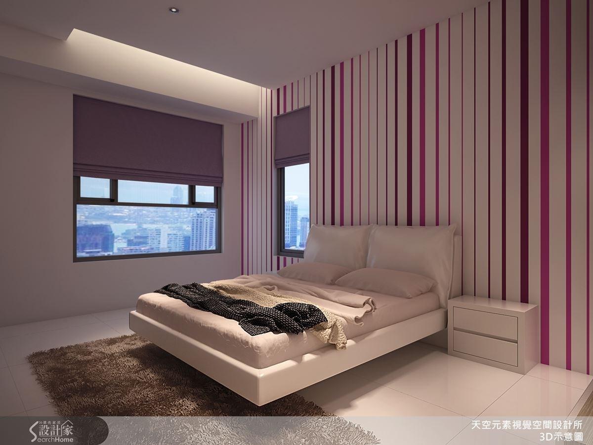 客臥以乾淨的線條貫穿壁面,充滿現代感。