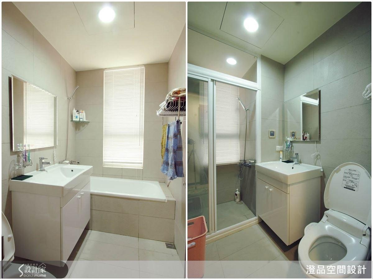 白色的衛浴空間,讓視覺有放大效果,搭配上懸空造型洗手櫃,可增添收納機能。