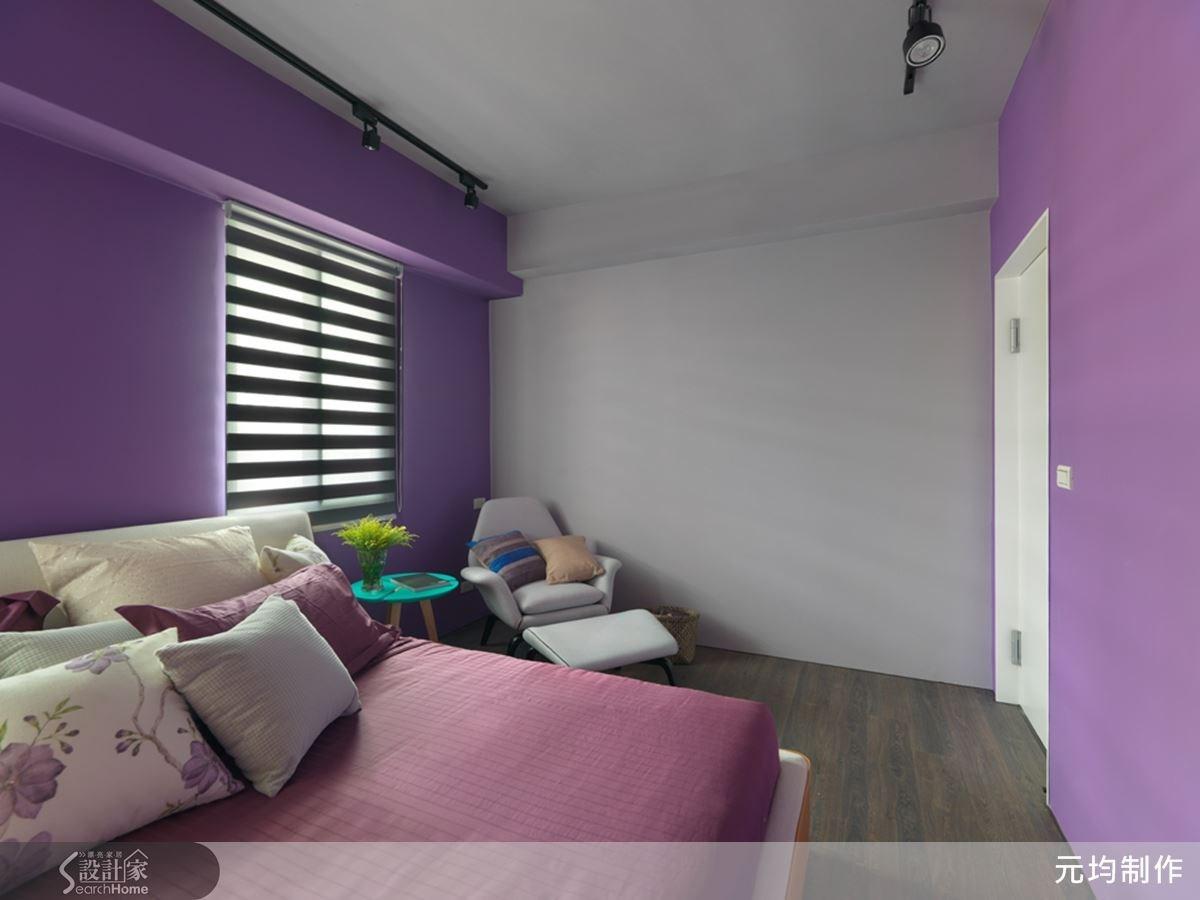 大男孩房以充滿個性的藍紫色調性為主,床頭主牆對開的開窗,以調光捲簾安排光的溫度與線條。