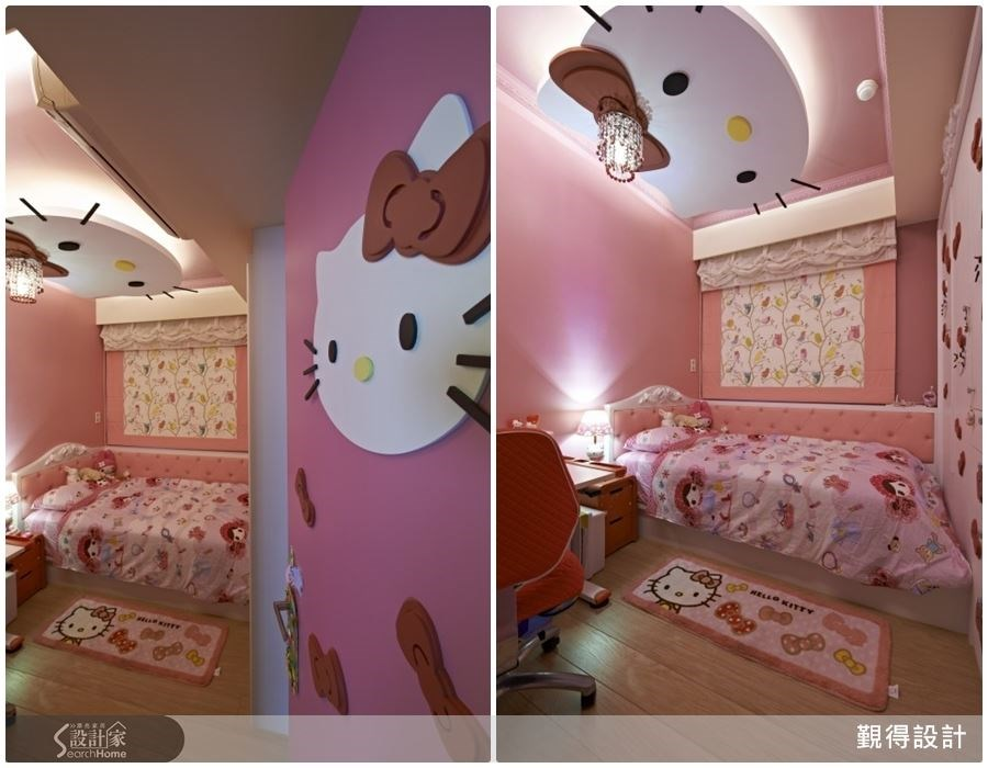 從門面就以 Hello Kitty 勾勒出童話的情境,女孩房裡以粉紅色調、蕾絲所烘托出甜蜜的氣息,白色櫃體配上紅色蝴蝶結,天花板上還有可愛的 Hello Kitty 木作造型天花,就像是來到 Hello Kitty 旗艦主題樂園,讓人心花朵朵開呢。