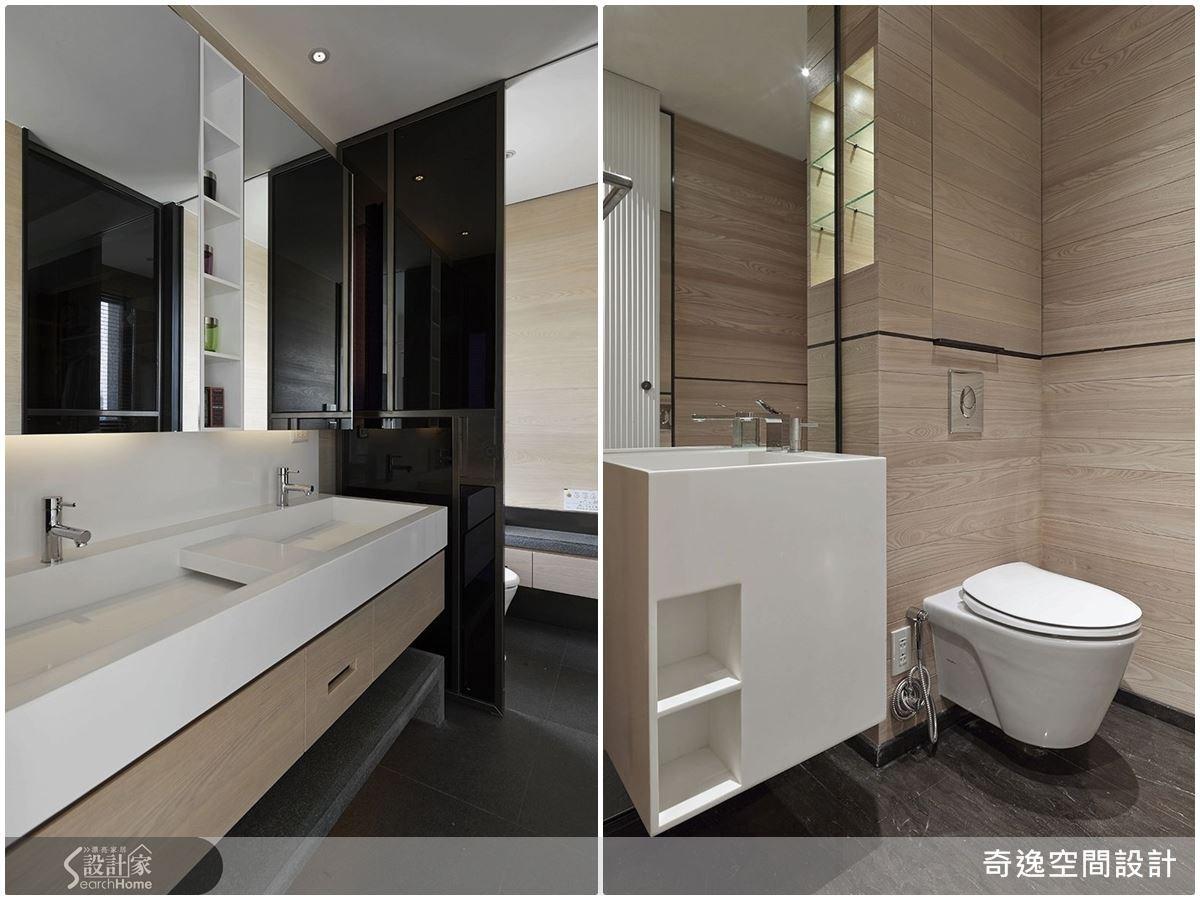 雙檯面的洗手台,衛浴空間運用更靈活;壁面則用淺色木紋建材,使衛浴帶有溫潤的空間感。