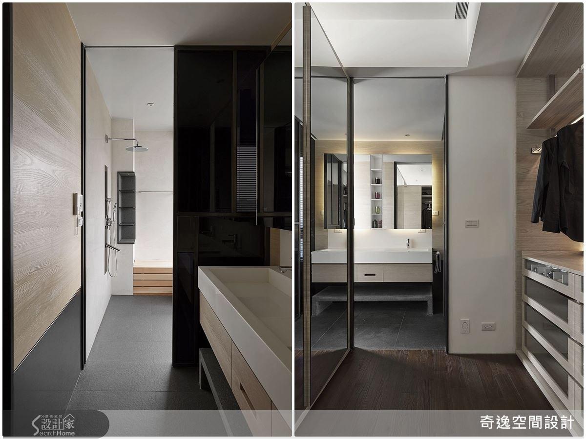 整面穿衣鏡,讓更衣室開闊有延伸感;格局安排上,規劃更衣室與衛浴空間相鄰,流暢的動線規劃,方便整理儀容或是洗去手上的彩妝品,大大提升更衣室的機能性。