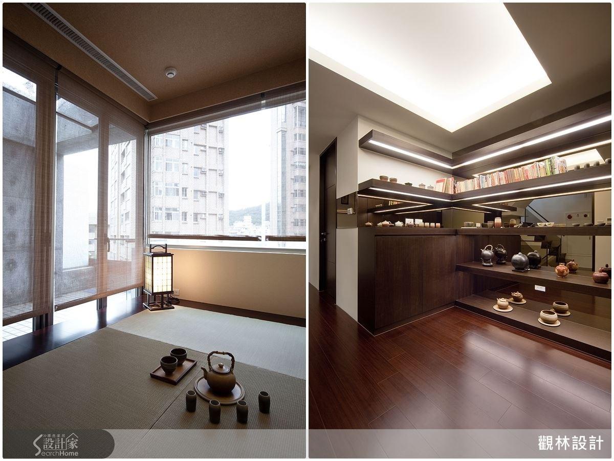 (左)和室裡在百葉簾的遮蔽下,光源微微射入,讓這個泡茶休憩的空間變得更加紓壓。(右)設計師替喜歡收藏茶具的屋主規劃了茶具展示櫃,結合精品展示的概念!
