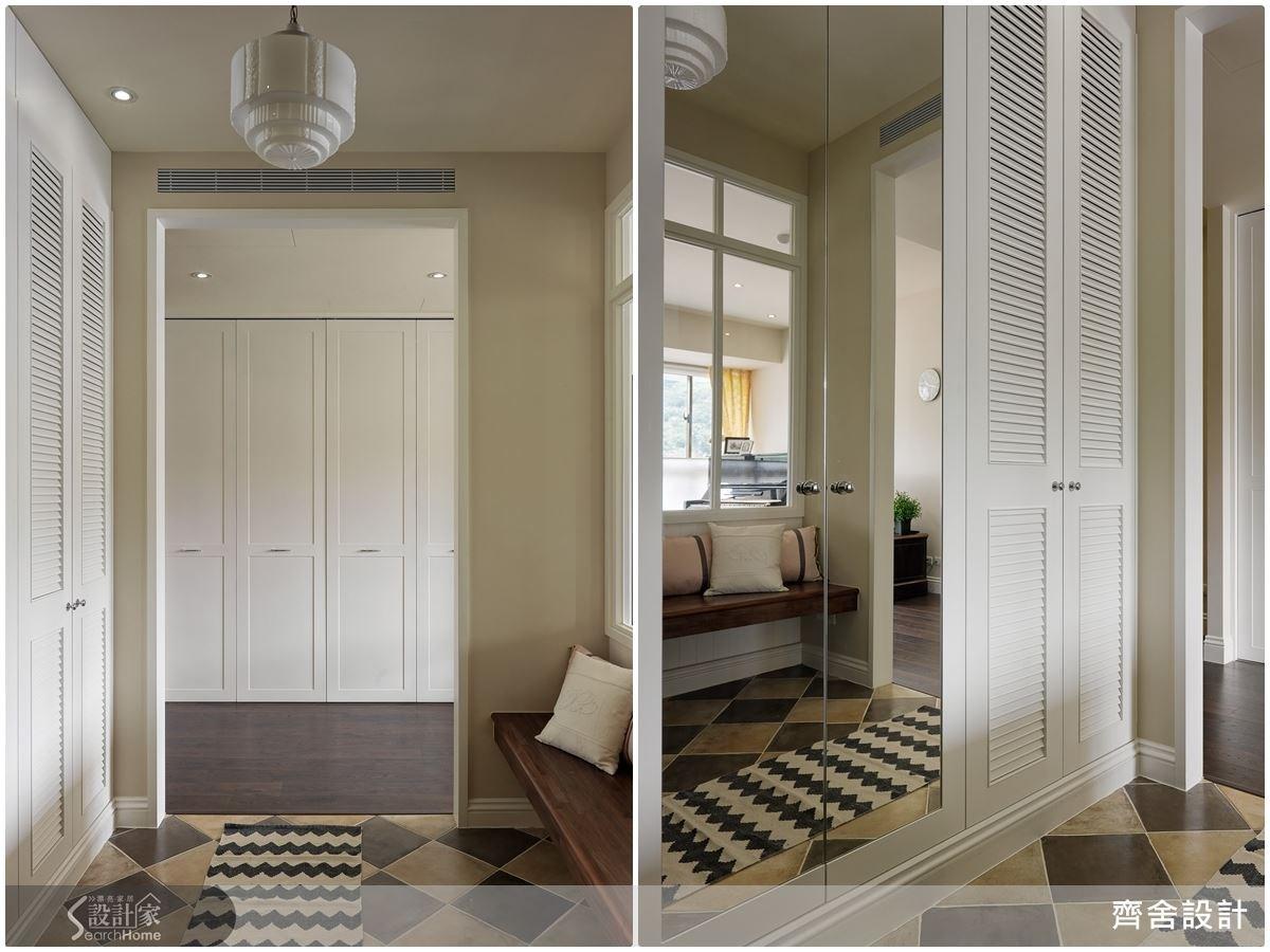 百葉窗的造型鞋櫃,不僅通風又帶有裝飾性,一旁的落地穿衣鏡,方便外出前確認穿搭,玻璃鏡面的特質,讓玄關更有空間延伸感。