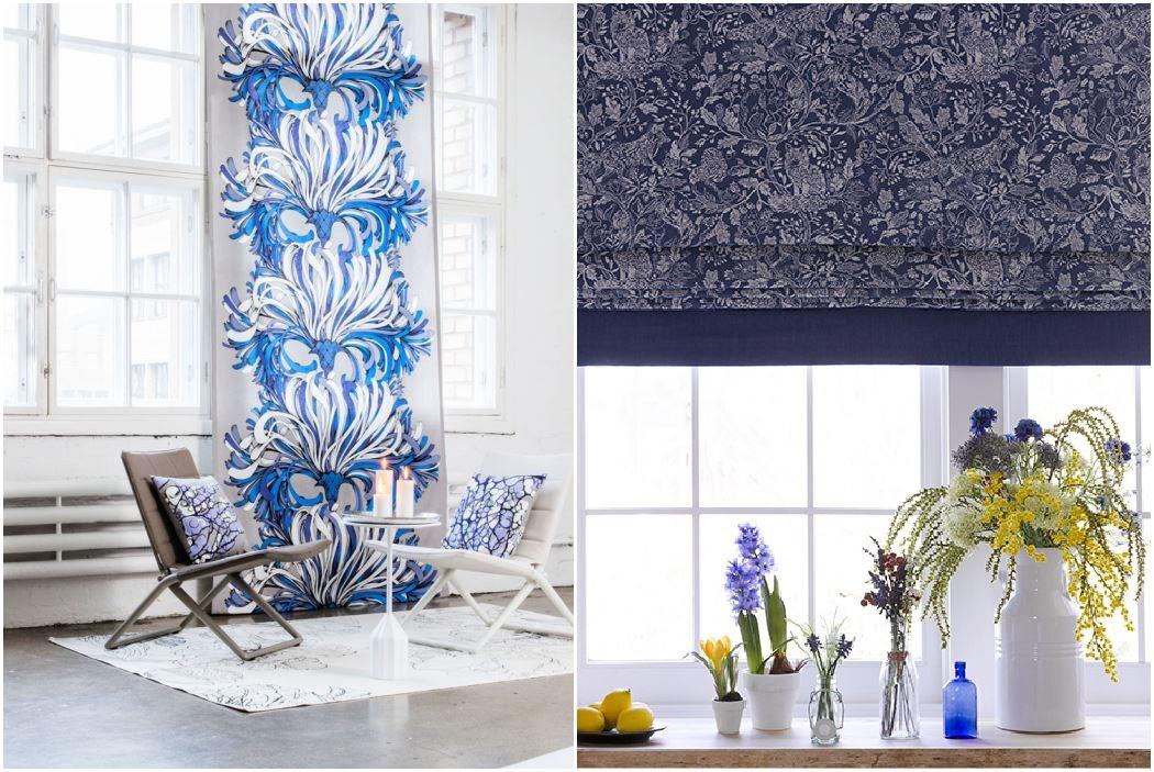(左) 色彩豐沛的芬蘭品牌 VALLILA,以大朵圖騰設計,讓簡單素雅的北歐風中能擁有視覺焦點;(右) 來自英國的品牌 Voyage,印花布紋在經典中展現柔美氛圍,不論鄉村或古典風格都非常適合。