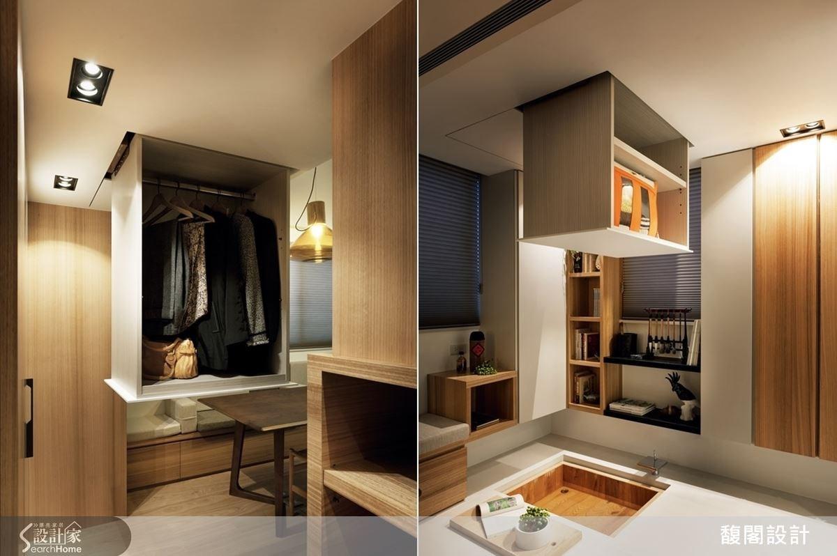 在居家中設計電動式衣櫃,透過機關遙控,可讓櫃體從天而降、上下自由移動,展現出令人驚喜的創意!