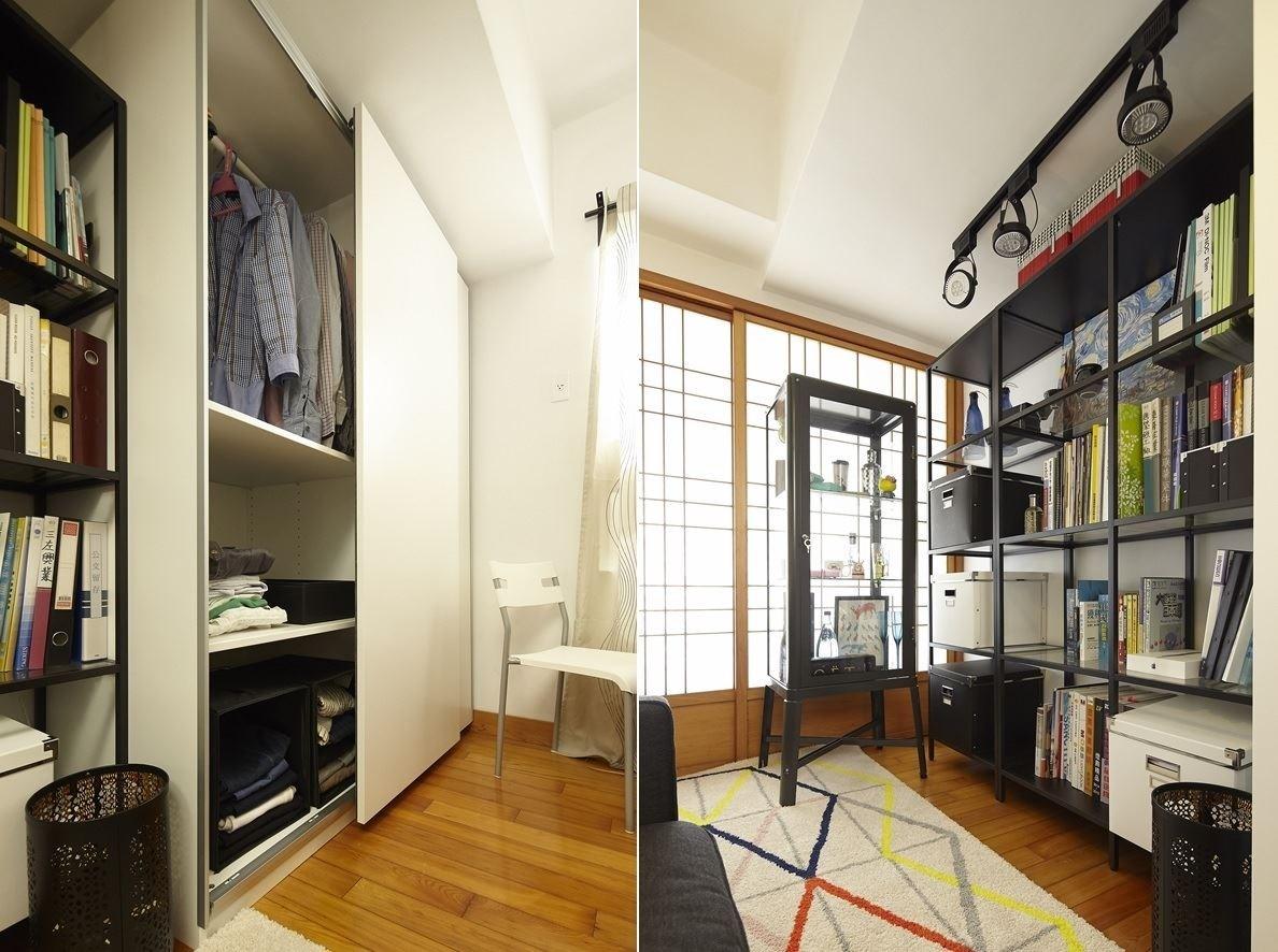 使用一些收納櫃體和層架組,將書籍、雜物、展示品收好、完整陳列,減少原本空間不足壓迫感很重的沉重感。圖片提供_IKEA