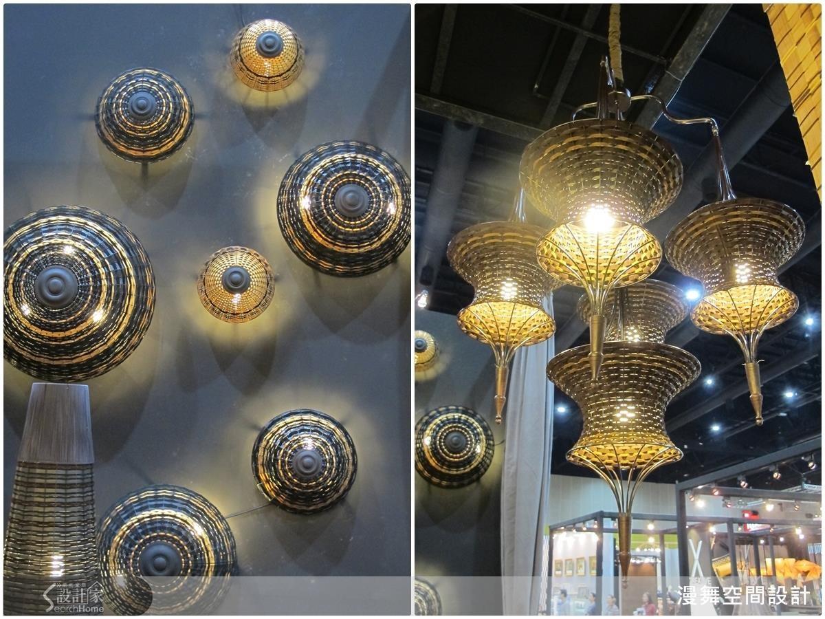 圖為當地盛產的竹、藤製成的燈飾,未加多餘的修飾、充滿原始的自然氣息。竹片及藤編的家具使用起來十分輕巧且通風舒適。