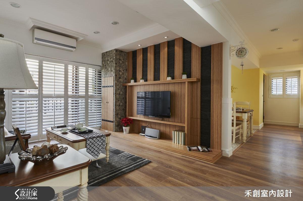 黑板雙溝文化石搭配木作,酒窖造型的磚造儲藏櫃,鵝黃的鮮豔牆面,一進屋就感受到溫馨自然。