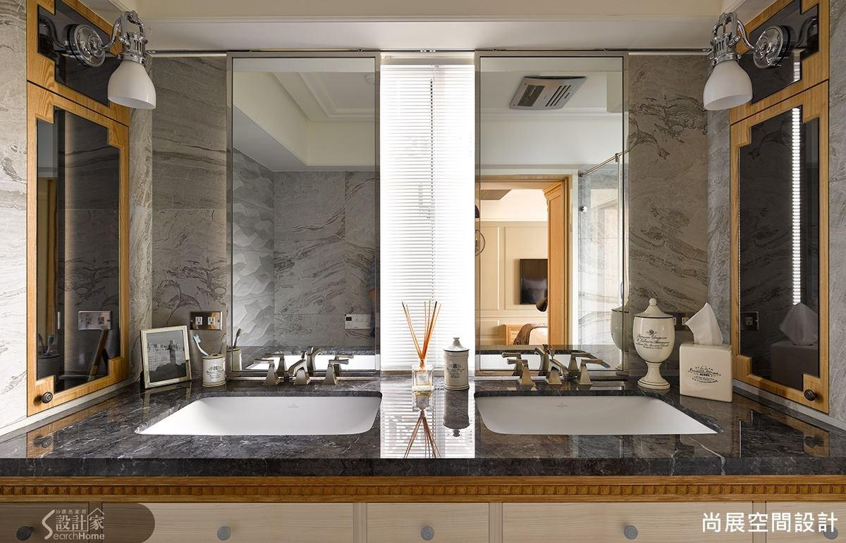 獨立對稱的盥洗空間,讓夫婦兩人保有個人領域,顯見空間關係的平衡與大器。