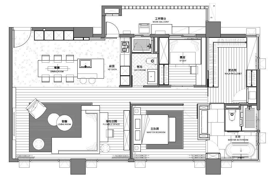 公私領域1:1切割,呈現大器的空間感。平面圖提供_L'atelier Fantasia繽紛設計