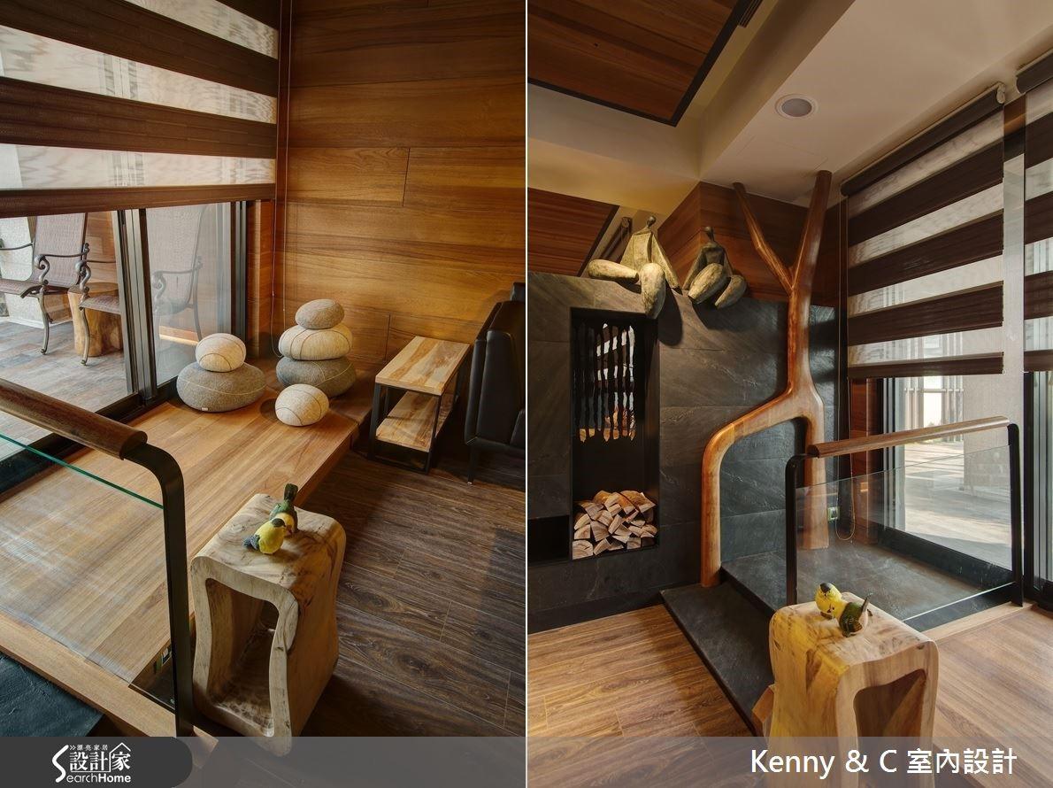戶外木造地板是與室內臥榻的連結,扶手為木頭打造似人舞動的造型,延伸至客廳為人文藝術空間的開端。