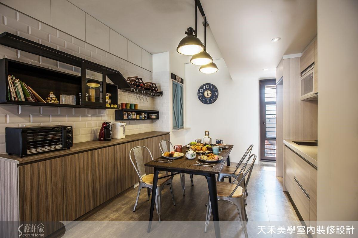 原本連轉身都嫌狹窄的一字型廚房改造為寬敞的開放式餐廚空間,大幅提升了空間的實用機能。
