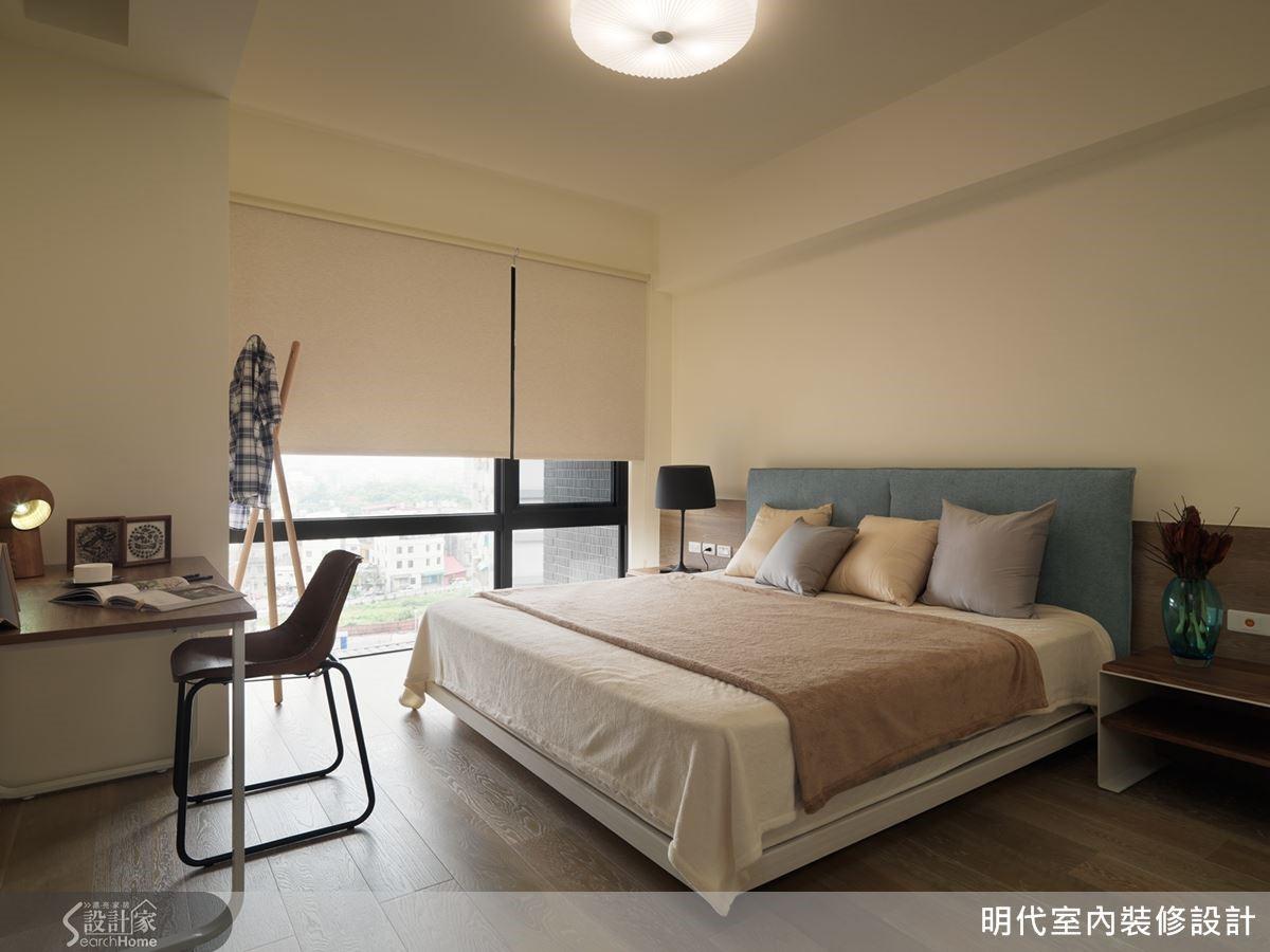 主臥房以白色為空間主色,再搭配大地色系的軟件,柔和的視覺觀感,真是好舒適、好紓壓!