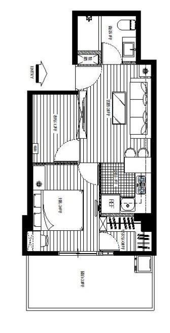將主臥室移到可容納採光與通風的露臺旁,原本的廚房改為更衣室,狹長的公共空間則規劃為客廳與餐廚區域;衛浴的浴缸也予以縮短,讓出局部空間作為玄關鞋櫃,創造更完善的收納機能。