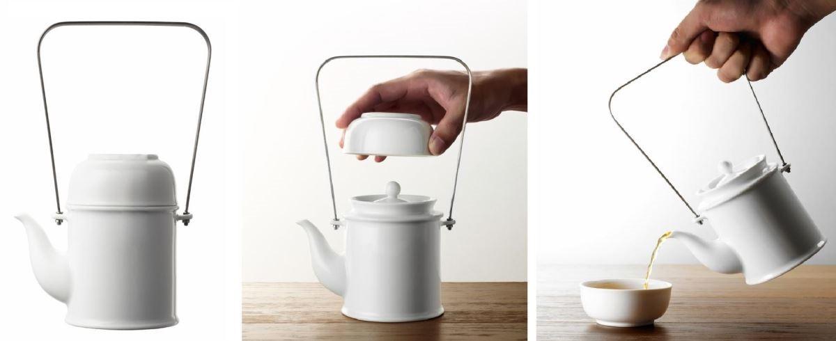 【品功夫】單品設計概念來自於中式茶罐,將茶罐密封茶的色香味的意象轉化至茶具,茶杯可以倒扣至茶壺上,層疊收納組合,讓喝茶更輕盈隨心。圖片提供_玩美文創