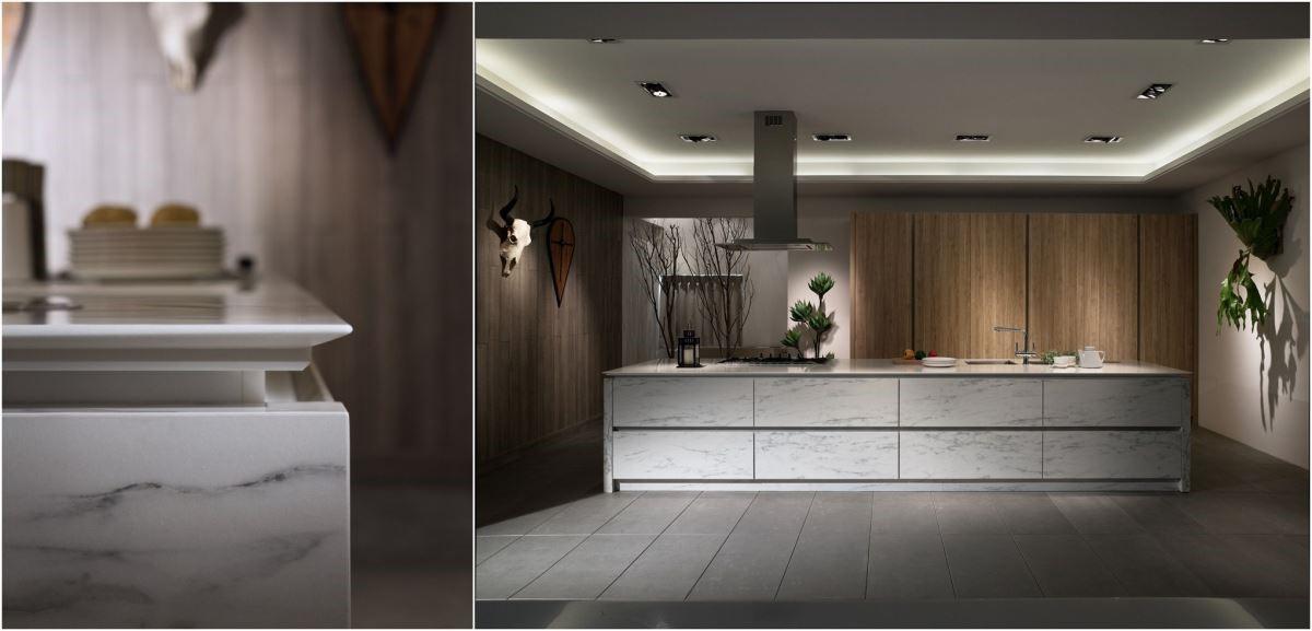 大面積石紋板材的中島廚房,整體透過精緻石材紋路的對花以及完美封邊,展現 360 度完美無死角的職人精神( 圖片來源_伸保 )。