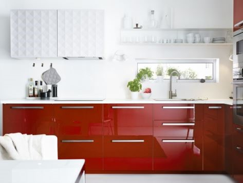 HERRESTAD壁櫃/RINGHULT高亮面紅色廚房 NT$ 97,100。