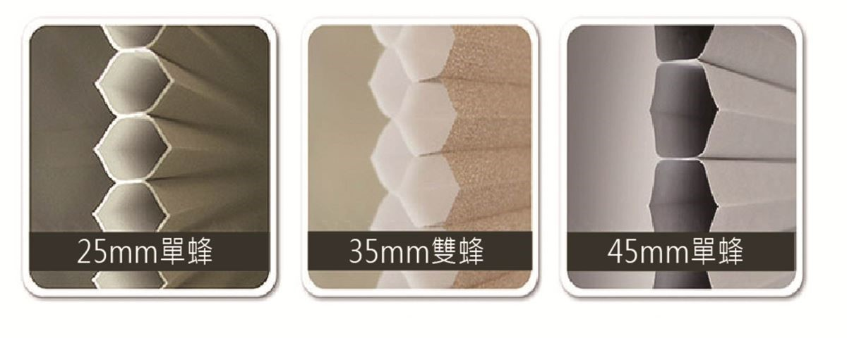 蜂巢尺寸有25mm (單蜂)、35mm (雙蜂)、45mm (雙蜂)三種尺寸可供挑選
