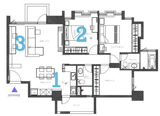 從平面圖上來看,將(1)餐廚區域改為開放式設計的決定,可以說是整體改造的關鍵,讓(2)客房能有足夠的餘裕放大尺度,同時也讓(3)開放式書房得到完整的區域比例。
