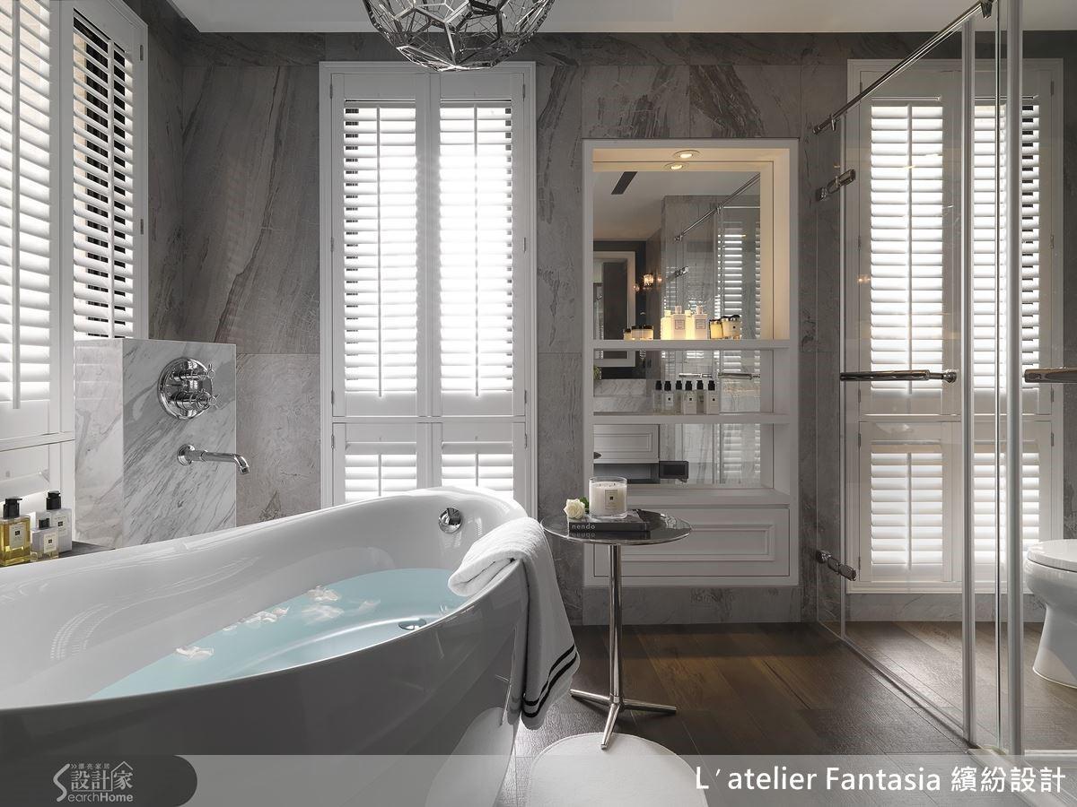 主臥衛浴恰巧位於 L 型的轉角處,是主人重要的生活空間之一,雙面採光,還有香氛櫃,營造被歐洲花草包圍的享受感。