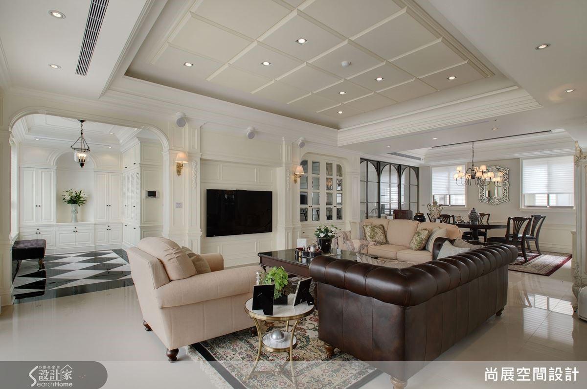 例如:本案一樓即為玄關、客廳、書房與餐廚區域,有客人來訪時,一樓就能滿足所有的接待需求。