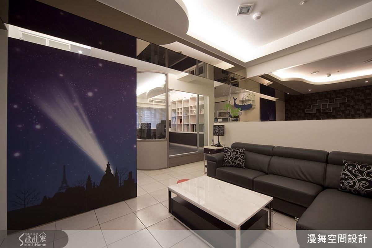 藉由大圖輸出的技術,將屋主所喜愛的夜景情境具體呈現,展現精彩的視覺效果。(欣賞完整案例:漫舞_13_台北縣)