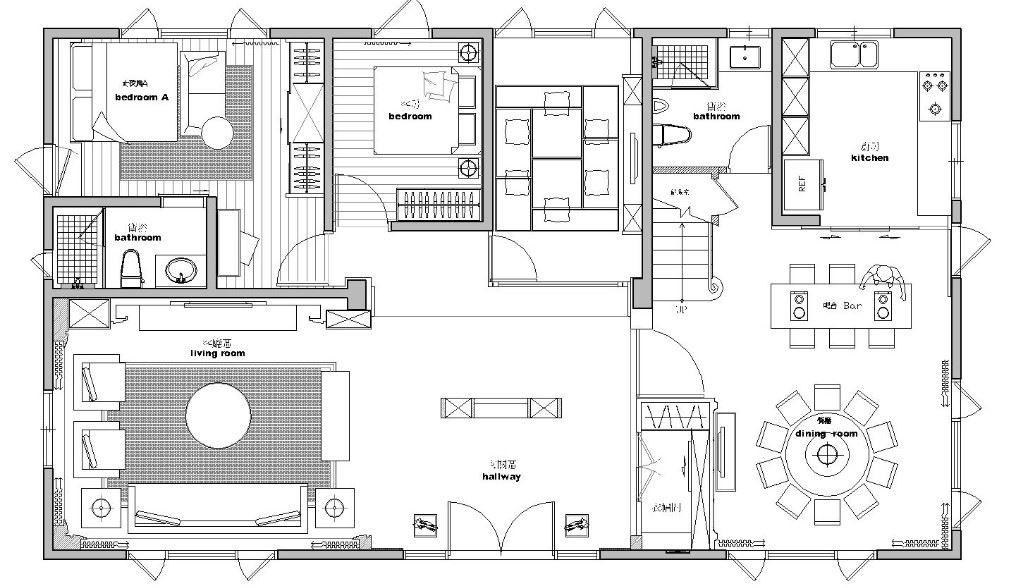1 樓平面圖:以玄關屏風為中軸,向兩側展開迎賓客廳與寬敞餐廚對稱的格局,位居屏風後方的空間則是專屬品茗室,透過古典大器的空間形式醞釀中西合璧之美。平面圖片提供_澄璞空間設計