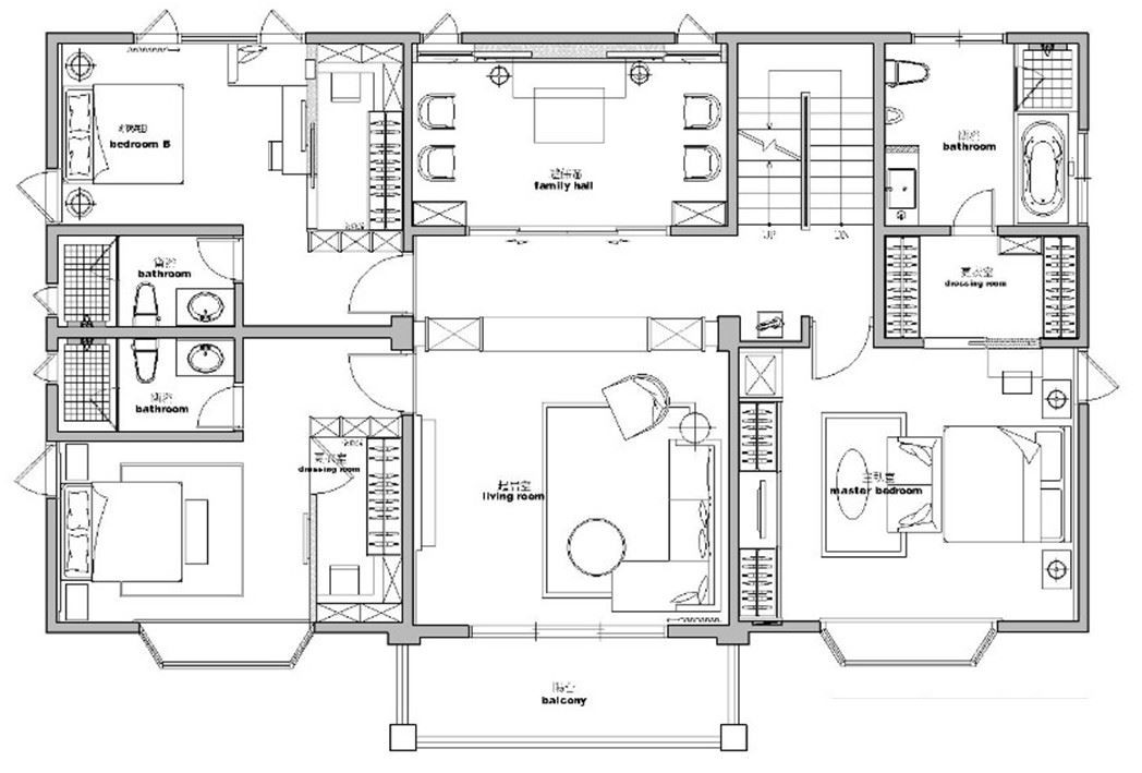 2 樓平面圖:除了居住者各自的臥房之外,二樓另外安排了專屬家族成員使用的小客廳,並另外獨立設置供奉佛堂,表達台灣人敬天崇祖的精神。平面圖片提供_澄璞空間設計