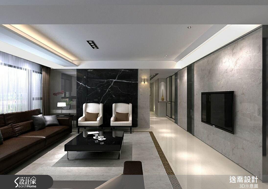 側邊牆面則巧妙搭配深色大理石,讓空間感在一輕一重的對比下更顯平衡。